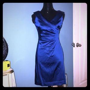 Tahari ASL royal blue ruched side dress